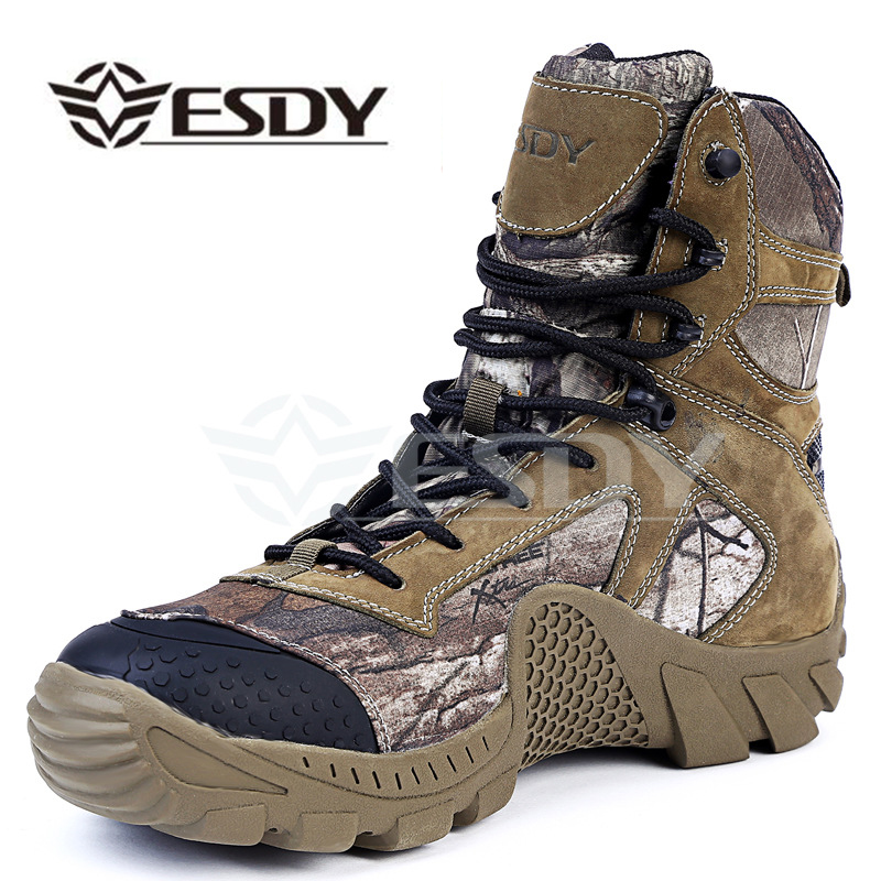 Esdy Winter Men Boots Military Camouflage Casual Tactical Boots Leather Combat Army Boots Men s Ankle