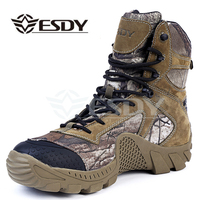 Esdy Winter Men Boots Military Camouflage Casual Tactical Boots Leather Combat Army Boots Men's Ankle Safety Boots Work Shoes