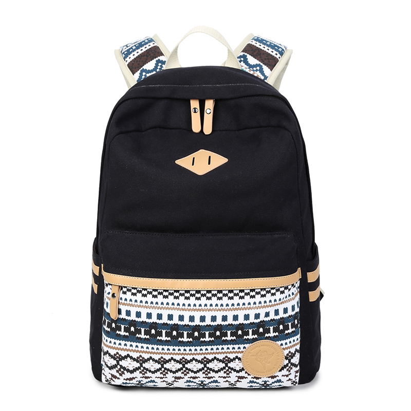 Brand Canvas Printing Backpack Women Cute School Backpacks for Teenage Girls Vintage Laptop Bag Rucksack Backpack Female new brand 2015 women girls school bag rivets camouflage backpack cute canvas