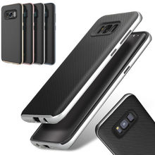 Thin Rugged Carbon Fiber Rubber Back Cover Hard PC Frame Case for Samsung Galaxy S6 S7 Edge S8 Plus Note 5 8 Case Fundas Capa