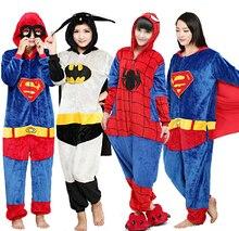 Traje Adulto Pijama Pijama de Halloween Kigurums Supermam Superhéroe Batman Onesie Mono de Las Mujeres de Los Hombres Cosplay de Halloween Navidad