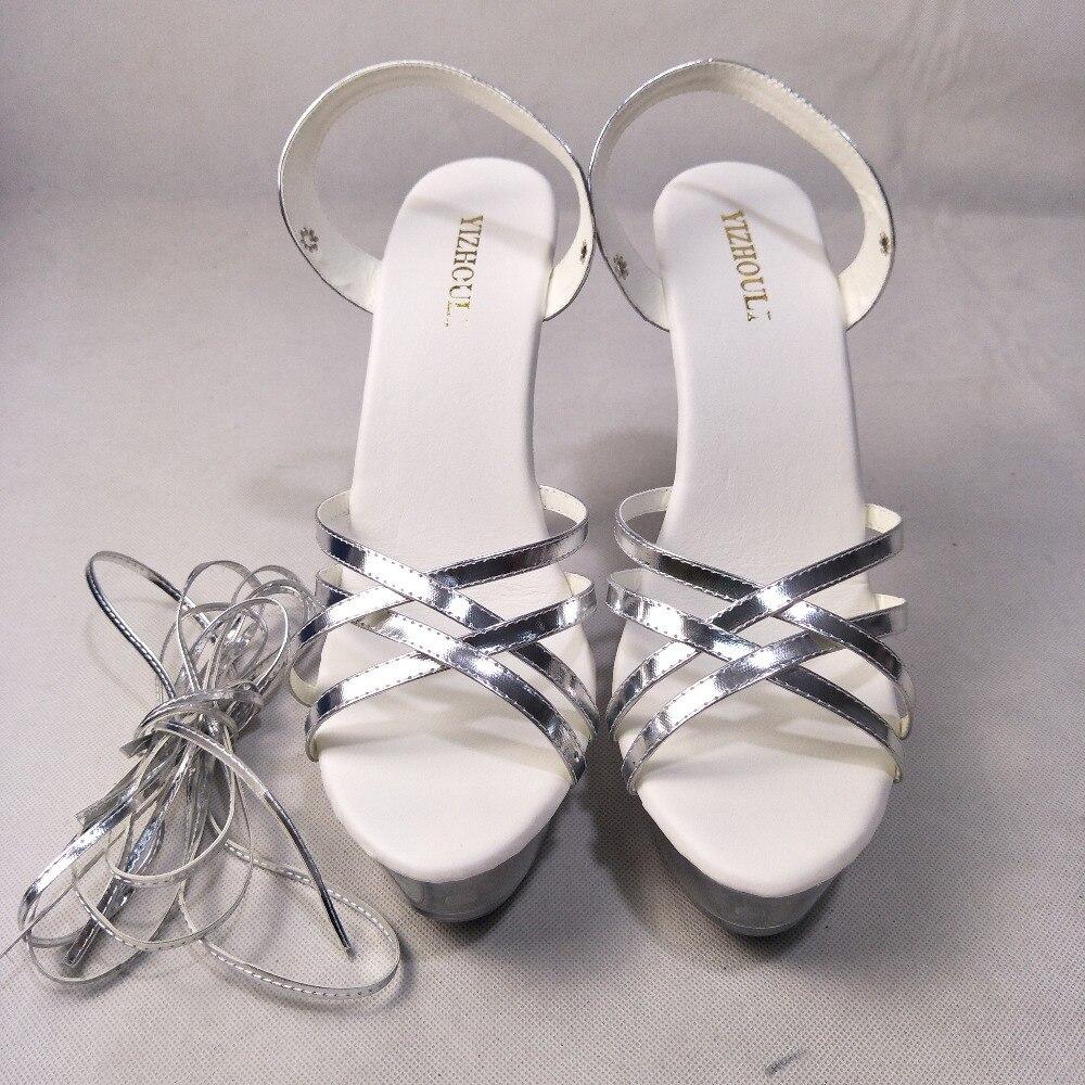 15 Delgados De Zapatos Tacones Cruz Tacón Cm Alto Cristal Plataforma Sandalias Verano Sexy Correa oro Las Pulgadas Negro 6 blanco Mujeres plata AnAgrwBqCx