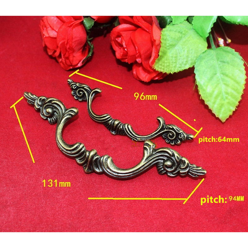 Antique Furniture Handle Cabinet Knobs and Handles Drawer Kitchen Door Pull Cupboard Handle Furniture Fittings,96mm/131mm,1PC 10pcs pure copperkitchen cabinet handles and knobs black furniture handle for kitchen cabinet drawer pull 96mm 128mm single hole
