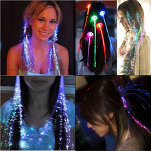 10pcs Fashion Led Light Braid Christmas Party Novelty Decoration Hair Extension by Optical Fiber Halloween Concert Birthday Toy(China)