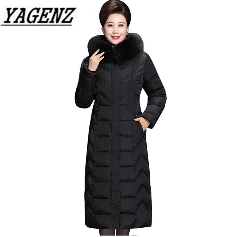 ฤดูหนาว X ยาว Fur สำหรับวัยกลางคนผู้หญิง Parkas Warm หนา Hooded Coat ขนาดใหญ่ลงผ้าฝ้ายหญิงเสื้อกันหนาว 6XL-ใน เสื้อกันลม จาก เสื้อผ้าสตรี บน   2