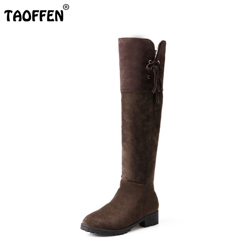 TAOFFEN women flat over knee boots bohemia winter warm snow botas fashion feminina boot cotton footwear shoes P19976 size 32-43 nemaonesize 34 43 women flat half short ankle boots winter snow boot cotton quality fashion buckle footwear warm botas shoes