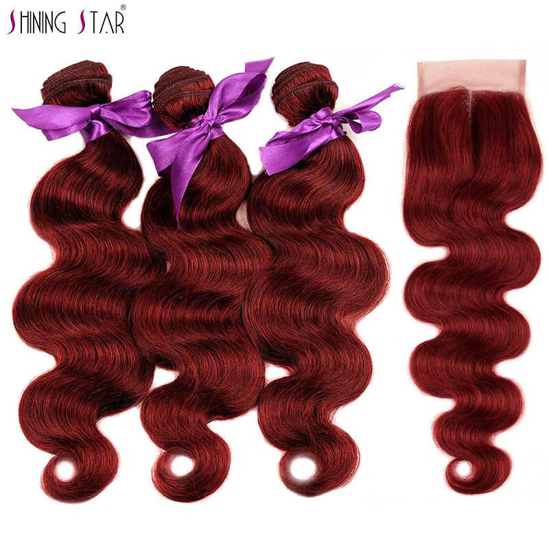 Burgundy Red 99J Body Wave Bundles With Closure Colored 99J Indian Human Hair 3 Bundles With Closure Remy Weft Shining Star Hair
