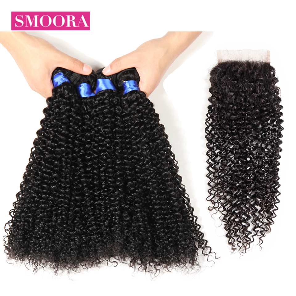 Mongolian Afro Kinky Curly Human Hair Weaving 4 Bundles with Closure Natural Black Non Remy Closure with 4 Pcs Hair Smoora