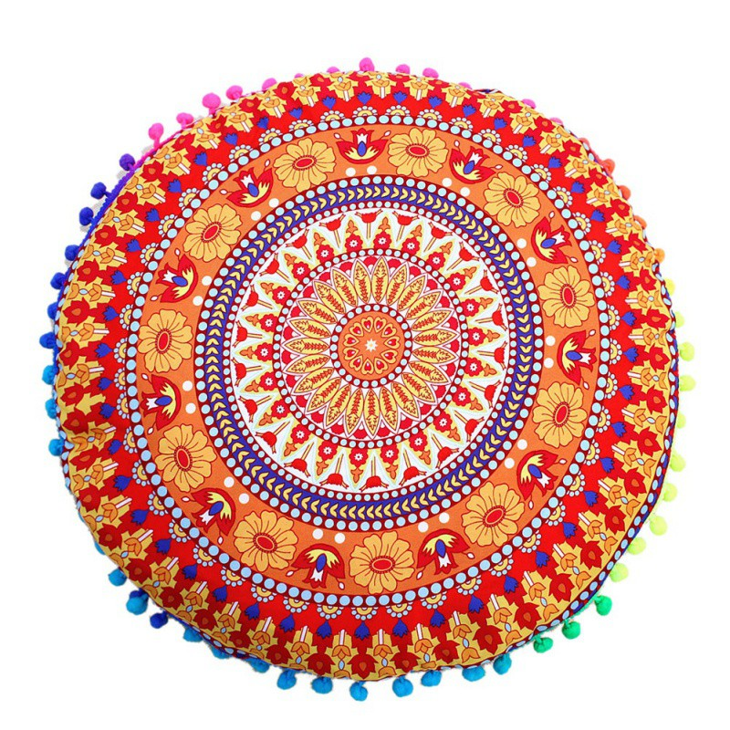Home Decorative Pillow Case Chic Round Indian Mandala Pattern Pillowcase Bohemian Cushions Magical Style Pillow Cover