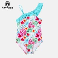 Attraco Girls One Piece Swimsuits Flower Print shoulder Swimwear Kids Ruffle Cute Bikini Beach Wear