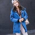 2016 de La Moda de Invierno Chaqueta de Cremallera de Algodón Mujeres Gruesa Mujer Abrigo Con Capucha Larga Caliente Mujeres Ocasional de la capa Outwear Plus size