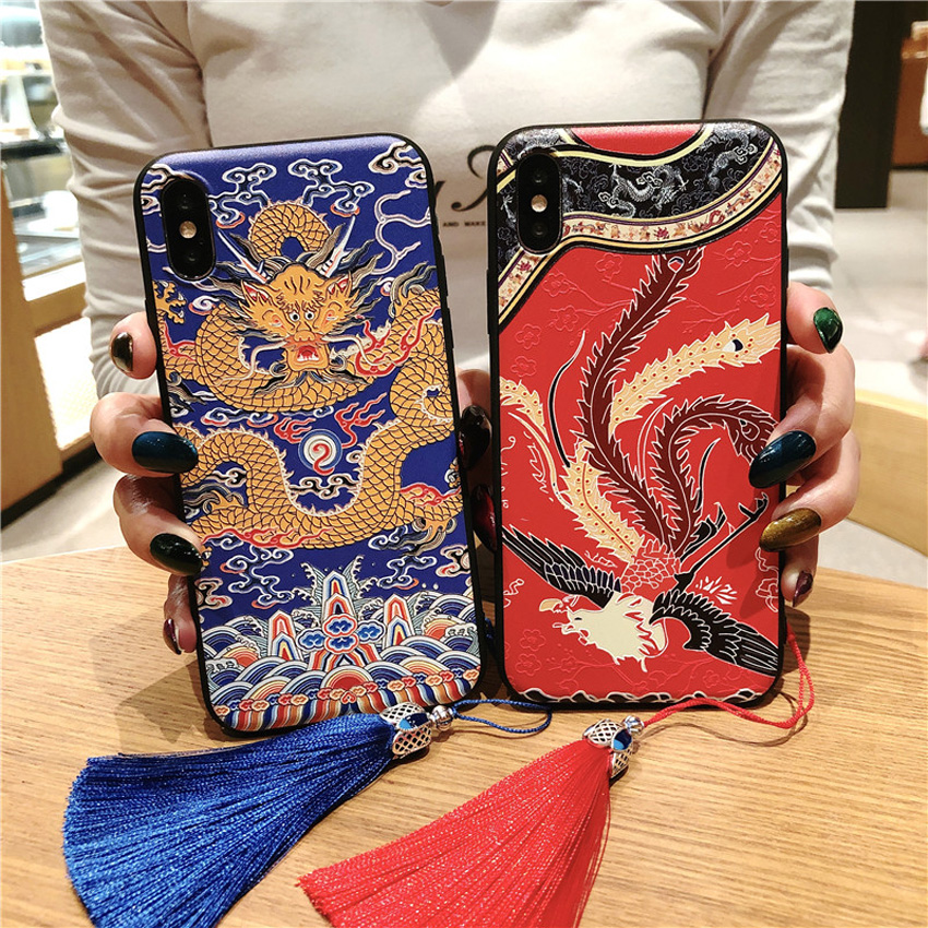 d18e8e858 Chinese National Cheongsam Dragon Phoenix Robe Palace Flower Soft TPU Case  Cover with Tassel for iPhone X XS XR Max 5s 6 6s 7 8