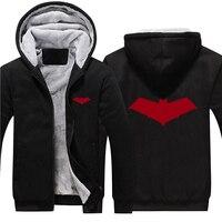 2017 Batman Red Hood Jason Todd Robin Superhero Hoodies Zip Up Cotton Hooded Winter Super Warm