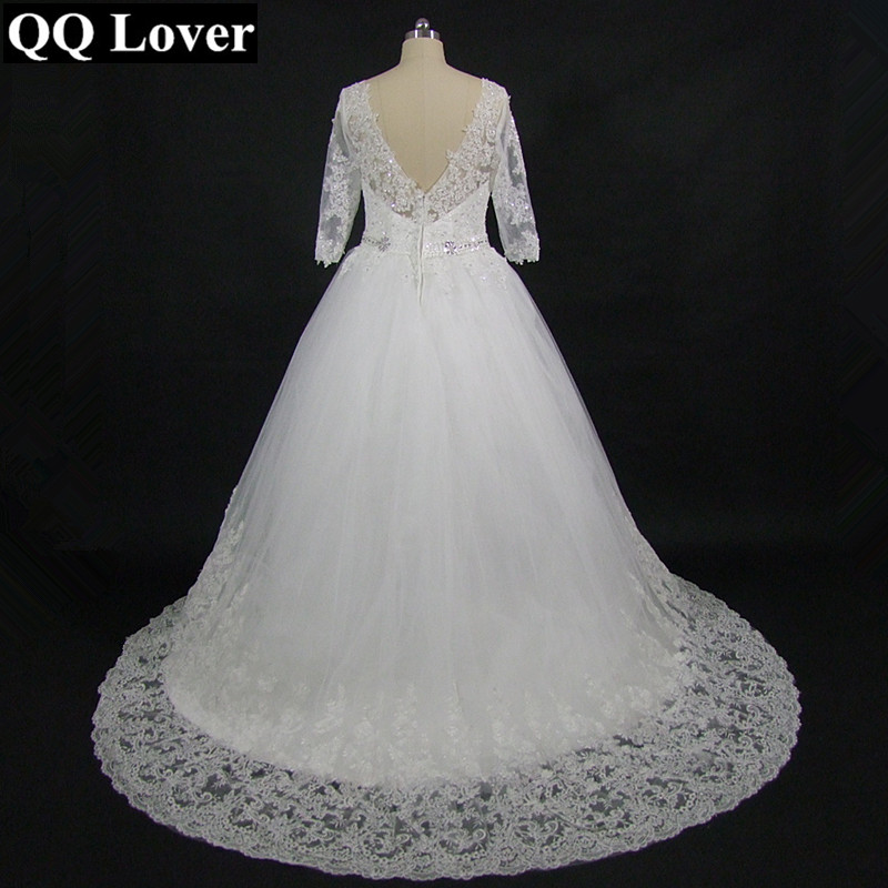 QQ Lover 2019 New Arrival Half Sleeves Luxury Appliques Bride Gown Custom made Plus Size Wedding