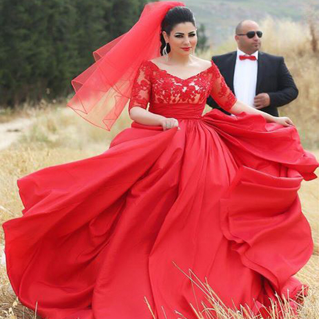 Designer Hijab Evening Dress for Chubby Girls Half Sleeve Lace Appliques  Top Puffy Taffeta Skirt Long Plus Size Red Evening Gown