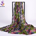 [BYSIFA] Red Green Snakeskin Long Scarves Wraps 2016 New Design Winter Ladies Silk Muffler Shawl 200*110cm Mulberry Silk Scarf