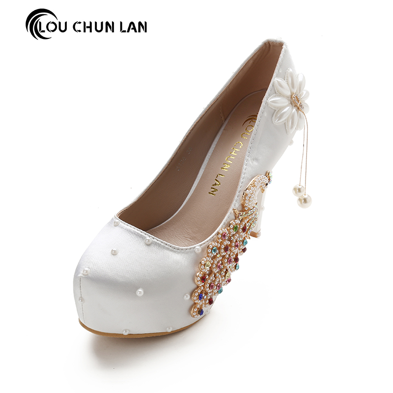 LOUCHUNLAN Women Pumps Shoes High Heels Wedding Shoes Elegant Rhinestone Round Toe Shoes Free Shipping Party shoes square heels cozy office shoes 2016 metal rhinestone charm pumps top selling women high heels spring elegant wedding shoes