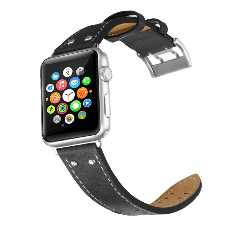 купить CRESTED Genuine leather strap for apple watch band 42mm 38mm iwatch serise 3/2/1 wrist band bracelet Cowhide watch band strap по цене 750.87 рублей
