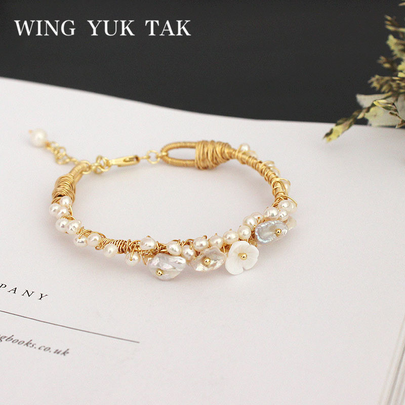 wing yuk tak Boho Ethnic Flower Bracelet For Women Fashion Bohemia Baroque Cultured Pearl Bracelet chic faux turquoise carving flower bracelet for women