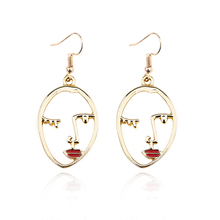 Fashion New Face Contour Abstract Personality Enamel Earrings 4 Color Lip Gloss Hollow Face Charm Female Pendant Long Necklace