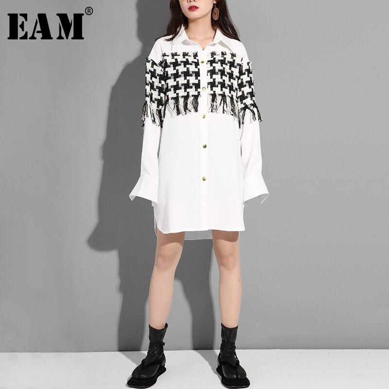 [EAM] 2020 New Spring Patchwork Tassel Turn-down Collar Full Sleeve Plaid Vintage Shirt Dress Women Fashion Tide YE6460