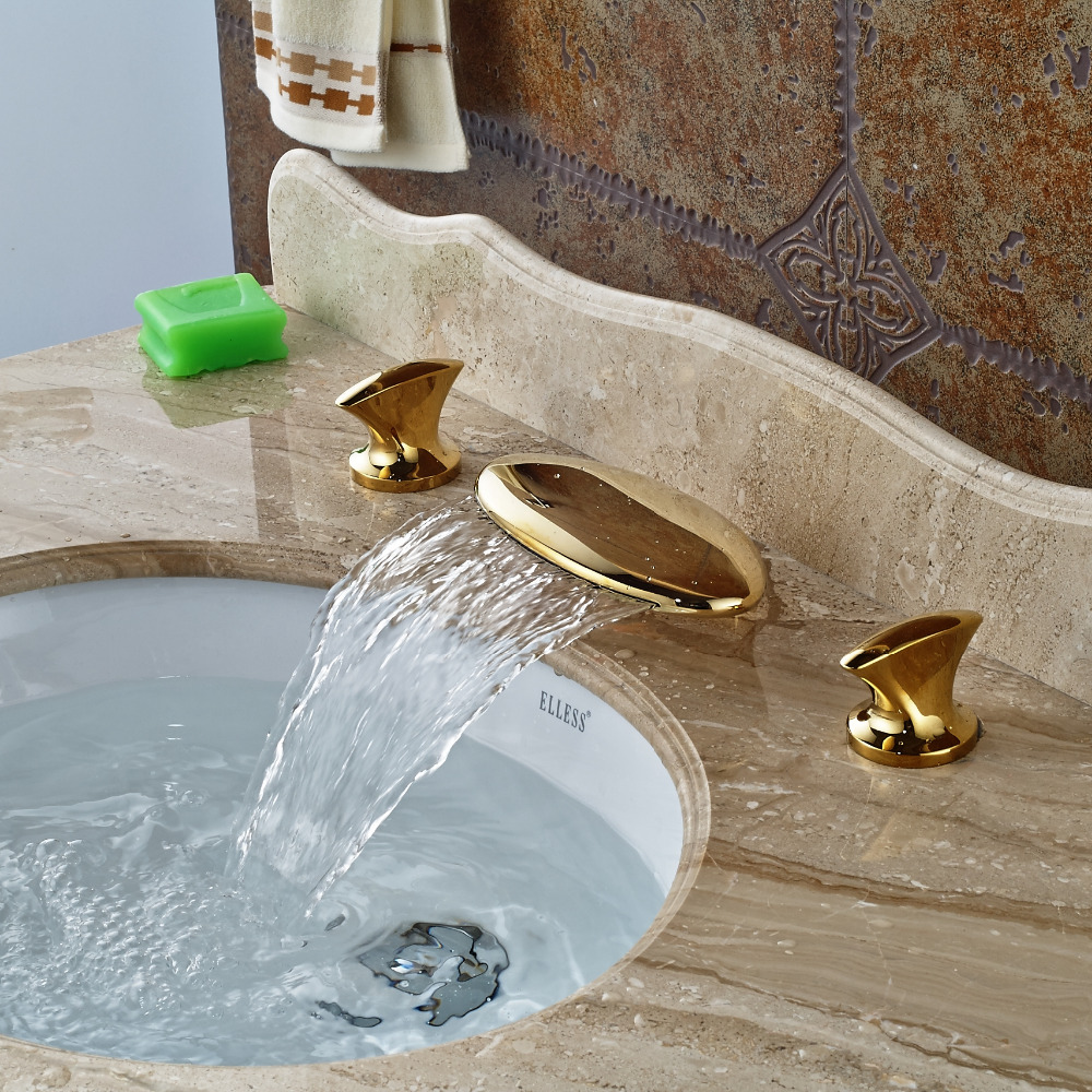Wholesale And Retail Widespread 8 Sink Golden Brass Bathroom Basin Faucet Waterfall Spout Dual Handles Vanity Sink Mixer Tap free shipping wholesale and retail golden big c shape widespread deck mounted waterfall bathroom basin sink faucet