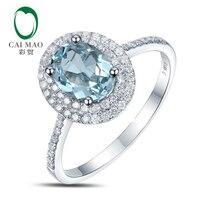 1.02ct Natural Blue Aquamarine 14k White Gold Natural Diamond Engagement Ring Jewelry