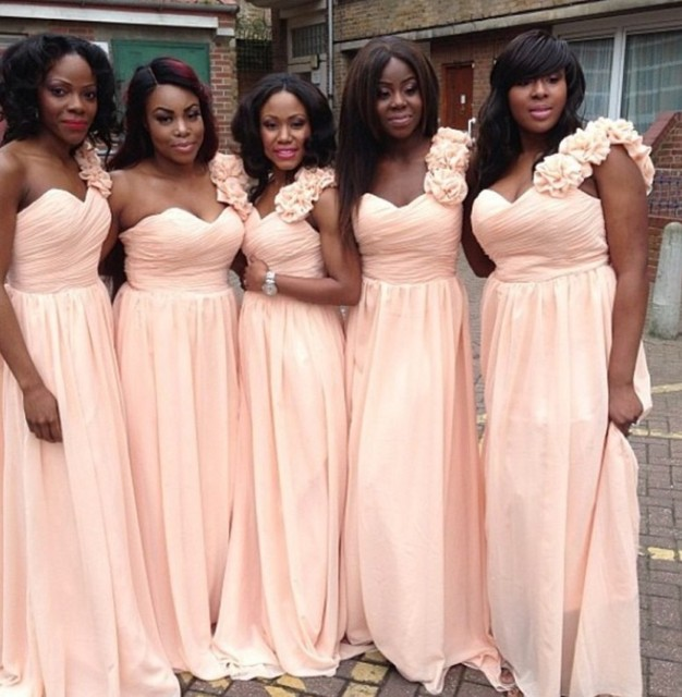 One Shoulder Sweetheart Pleated Flowers Plus Size Bridesmaid Dresses