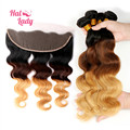 Halo Lady Brazilian Ombre Lace Frontal Closure 13x4 Virgin Hair Ombre 1b/4/27 Lace Frontal Closure With 2/3/4bundles Body Wave