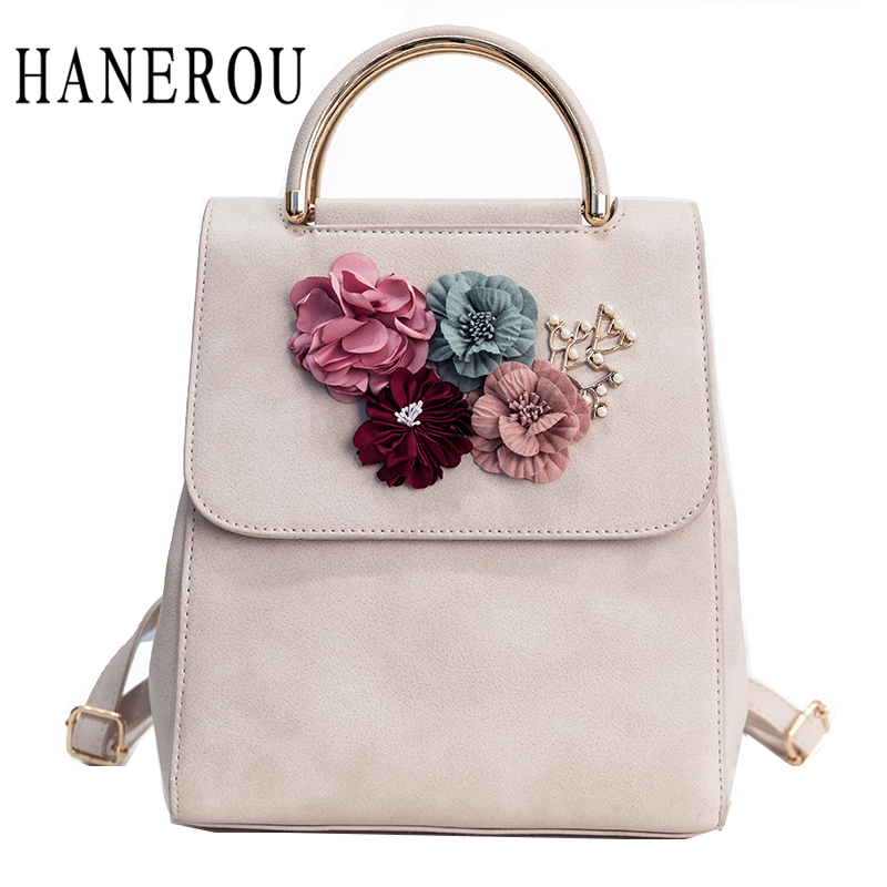 2017 Fashion Flower Female Backpack Women Preppy Style School Bag For Teenagers High Quality PU Leather Backpack New Sac A Dos