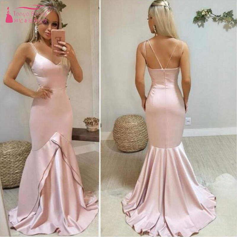 TANYA Mermaid Satin Off the Shoulder Pink   Prom     Dresses   Sleeveless Simple Spaghetti Straps Party Evening   Dresses   SS140