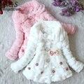 Casaco Junoesque Crianças Da Criança do bebê da Pele Do Falso Com Forro de Lã Casaco Meninas WinterWarm Jacket Snowsuit
