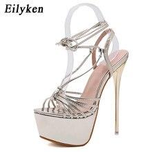 1e00bda74097c Eilyken doré femme sandales chaussures d été plate-forme 17 cm talons hauts  femmes sandales dames décapant chaussures grande tai.