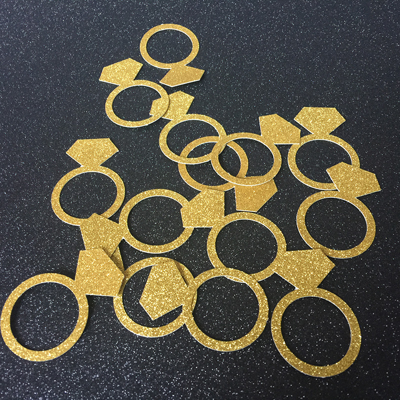 Gold Bridal Shower Decorations Gold table confetti. Bachelorette Party Decorations Ring Confetti Gold
