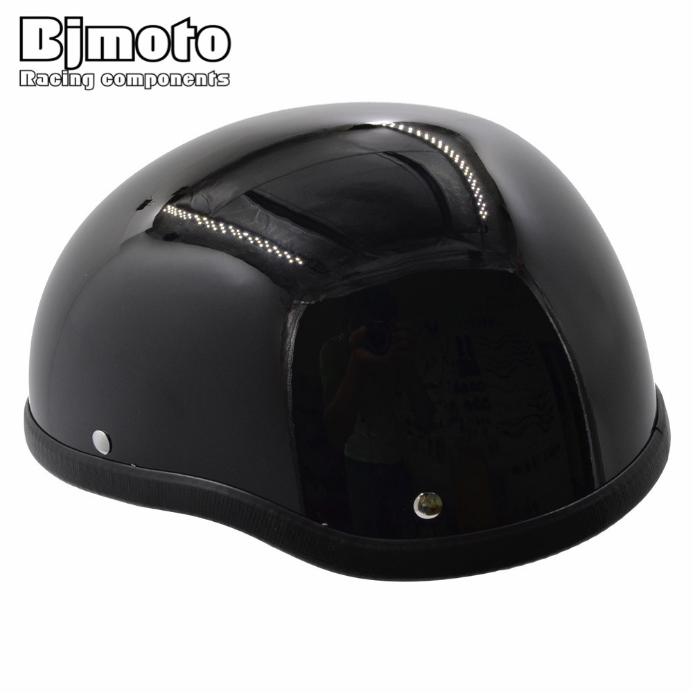 BJMOTO Men/Women 1 Piece ABS Plastic Motorcycle Helm Motocross Capacete Half Helmet for Harley Retro Motorbikes