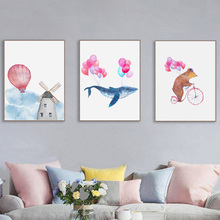 7-Space Cute Watercolor Balloon Bear Whale Windmill Canvas Painting Art Print Poster Wall Pictures For Kids Room Gilr Decor