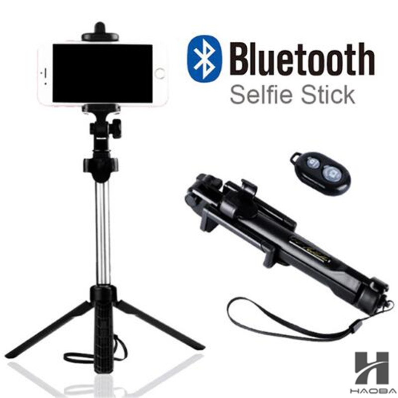 FGHGF T1 2018 Tripod Monopod Selfie Stick Bluetooth Dengan Button Pau De Palo selfie stick untuk iphone 6 7 8 plus Android stick