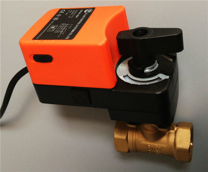 "1 1/4"" AC/DC24V Electric automated ball valve, ON/OFF type, DN32 with manual override can open any angle for flow control"