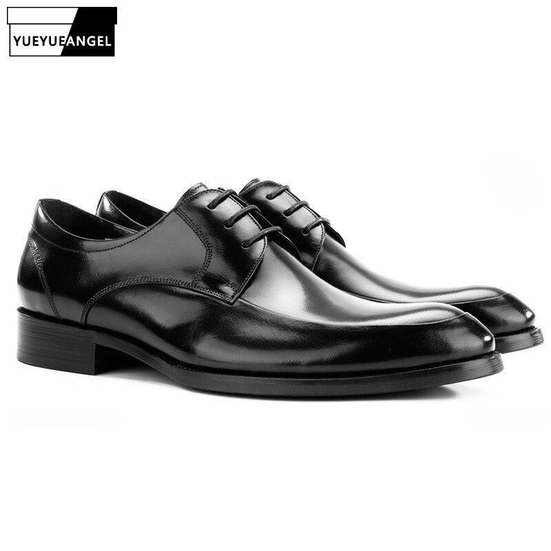 Tacones Tamaño Oficina Plus Formal Dedo Vestir De Oxfords Calzado black Los Del Genuino Cuero El Trabajo Pie Zapatos Euro Brown Puntiagudo Encaje Lujo Hombres HRUanqwH1W