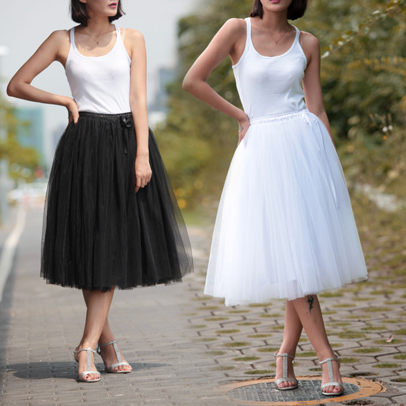 Fairly Style Fluffy 4 Layers Mesh Tutu Skirt Adult 65cm Long Gauze Daily Skirts Custom Made Plus Size Saia Femininas Falda Jupe In From Womens