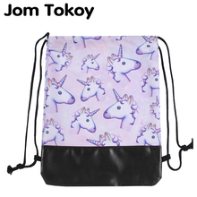 Jom Tokoy 2018 뉴 스쿨 여아 Drawstring 배낭 3D 인쇄 핑크 유니콘 패턴 여성 Drawstring 가방