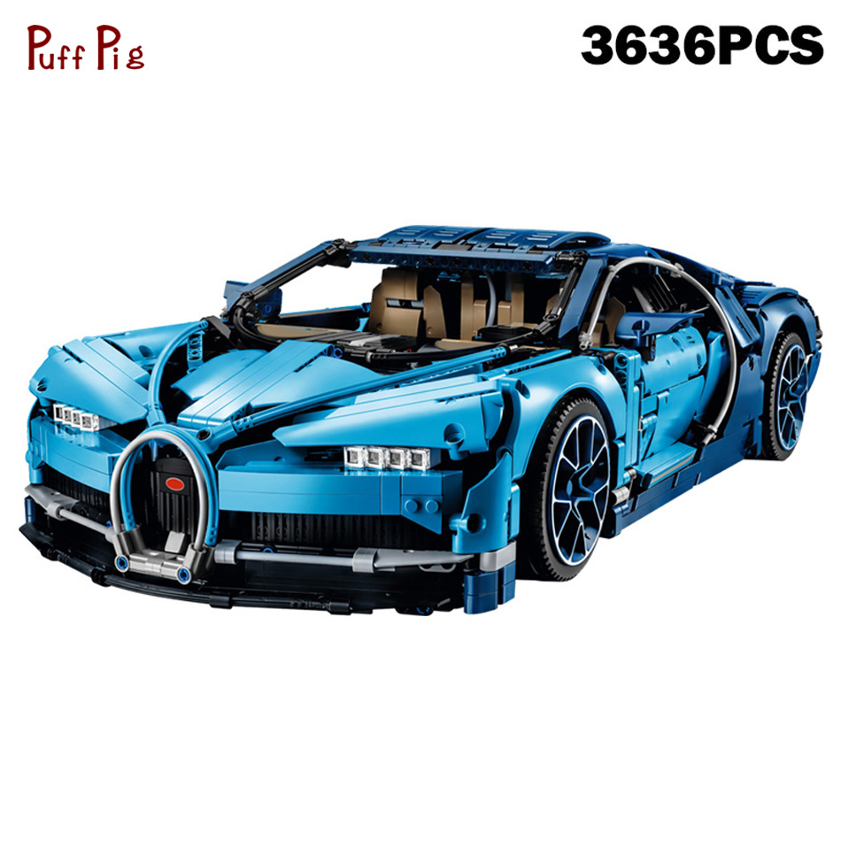 Technic Series Chiron Bugattiingly Blue Racing Car Building Blocks Compatible Legoed Technic Speed Assemble Brick Kid Toys Gifts loz smartable technic series red excavator diy building brick blocks toys compatible with legoingly technic car gift toy to kid
