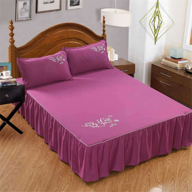 100% Polyester Plain Color Mattress Cover Skid Dust And Mite Proof Bed Skirt Love You Printing Bedcover Sheet Comfortable Warmth