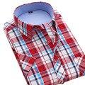Nuevo Estilo de Los Hombres de Verano de Manga Corta Camisas A Cuadros Marca de Moda Turn-down Collar Slim Fit Camisa Respirable de Los Hombres Ocasionales de Color azul