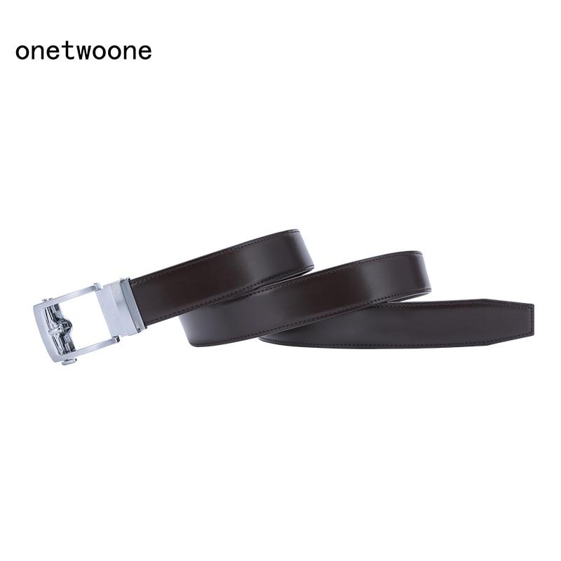 Brand Fashion Automatic Buckle Genuine Leather Belt Men's Belts Cow Leather Belts for Men 3.5cm Width 135cm Adjustable