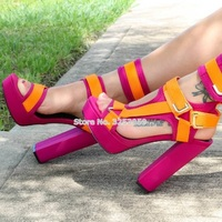 ALMUDENA Women Elegant Mixed Color Chunky Heel Sandals Platform Metal Buckle Strap Dress Shoes Orange Pink Burgundy Wedding Heel