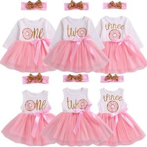 Pudcoco 2019 1st/2nd/3rd Birthday Baby Girls Donut Polka Dot Tulle Tutu Princess Party Dress Birthday 2pcs(China)
