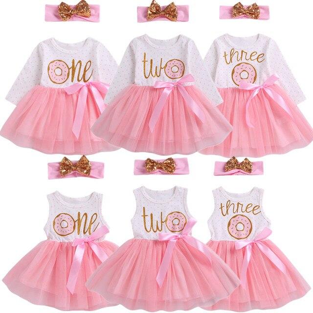 Pudcoco 2019 1st/2nd/3rd יום הולדת תינוק בנות סופגנייה מנוקדת טול טוטו נסיכת המפלגה שמלת יום הולדת 2 pcs