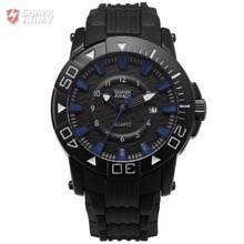 Voodoo II SHARK ARMY Full Black Blue Outdoor Sport 12Hrs Analog Date Soft Rubber Water Resistant Gents Military Watches / SAW213