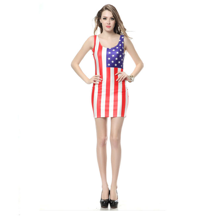 2018 Summer Women Dress For Women Usa Girl Lady Dress American Flag Dresses Clothes Clothing in Dresses from Women 39 s Clothing